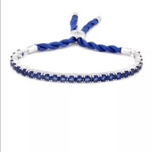 Blue Sapphire Crystal Adjustable Silk Bracelet